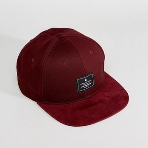 30f089b2ba4b8 ASOS Accessories - Burgundy Snapback Cap With Faux Suede Peak